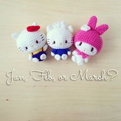 Should I come to Singapore in January, February, or March? My fellow Singaporean friends, please let me know here ☺️☺️☺️ Kawaii Crochet, Cute Crochet, Crochet Dolls, Crochet Baby, Hello Kitty Amigurumi, Hello Kitty Crochet, Macrame Bracelet Patterns, Patron Crochet, Crochet Keychain