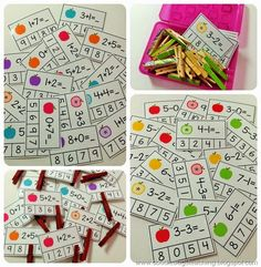 I have finished up a new set of Clip Cards- this time a fun Fall Set . Montessori Math, Preschool Math, Ks1 Maths, Math Challenge, Busy Boxes, School Sets, Teaching First Grade, Hands On Learning, Teaching Activities