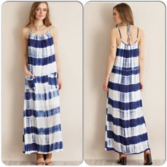 """Tie Dye Pocketed Maxi Dress This fabulous halter maxi dress features front pockets. Ties at neck, and has adjustable shoulder straps . Lightweight, 100% rayon. Unlined, but not see through. Avail in S,M,L. Since this is retail, there are no tags. Side seam measures  45"""" on all sizes. Small measures 17""""across armpit to armpit. Medium measures 18"""" armpit to armpit. Large measures 20"""" armpit to armpit. Perfect dress for the summer Dresses Maxi"""
