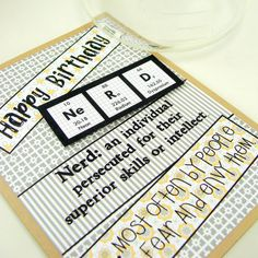 Nerd Birthday Card - Gray and Yellow. $4.50, via Etsy.