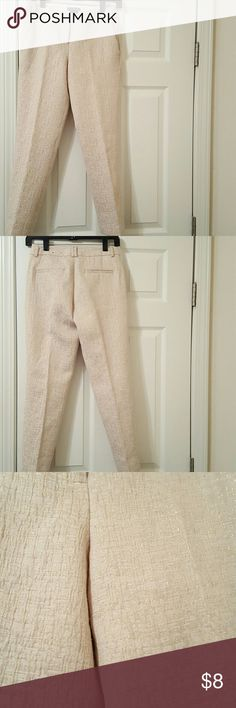 Ankle pant Express Editor Ankle Pant.  I can't describe color.  Tan maybe with gold specks.  They are lined.  Thick material. Express Pants Ankle & Cropped