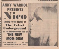 The Velvet Underground and Nico, ad for a 1966 show.