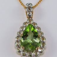 Green tourmaline and diamond pendant. For this piece we used modern rose cut diamonds.