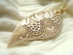 White Lace Texture Pendant - Polymer clay Handmade Jewelry from efiwarsh on etsy $24.00