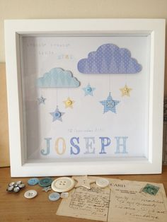 Framed Personalised handmade picture for newborn or childs