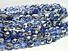 6mm, Silver Sapphire Blue, Czech Fire Polished, Round, Faceted, Glass Beads (25pc or 50pc), DIY Jewelry, Bead Supply by FlutterbyeBeadSupply on Etsy