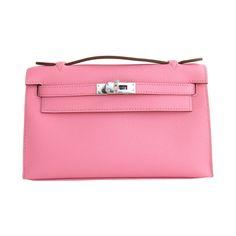 Hermes Rose Confetti Epsom Kelly Pochette Bag Clutch Day Evening | See more vintage Hermes Kelly Bags at http://www.1stdibs.com/fashion/handbags-purses-bags/top-handle-bags/hermes-kelly-bag in 1stdibs