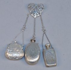 (This is one of my favorite pieces, I just love it! JVB) Sterling Chatelaine Pin, 3 Arms- Purse, Perfume, Flask