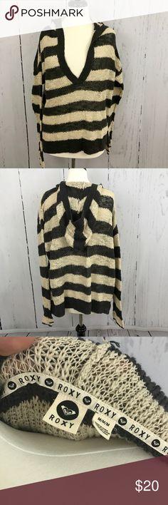 Roxy Beachy Sweater 🐚Great Coverup Cream and Dark gray open knit sweater with hood. Casual cute. Roxy Tops Sweatshirts & Hoodies