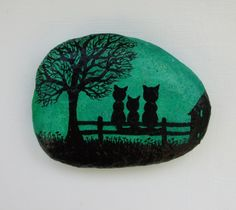 Cats Painting on Stone Framed: Cats Silhouette Painting, Stone Art, Painted Pebble, Cats Art, Childr Stone Art Painting, Rock Painting Designs, Pebble Painting, Pebble Art, Silhouette Painting, Cat Silhouette, Stone Crafts, Rock Crafts, Art Rupestre