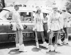 Meridian High School Majorettes standing by Elvis Presley's cadillac May 26, 1955.