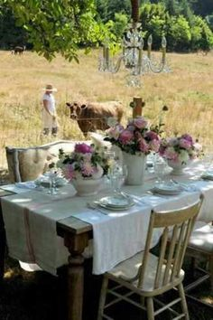 Romantic outside table setting