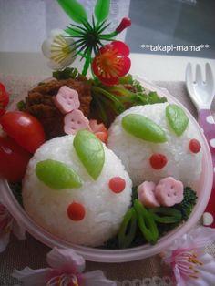Snow Rabbit Shaped Onigiri Rice Ball, Kyaraben Bento Lunch © たかぴーままさん