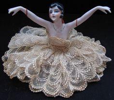 Antique Porcelain Half Doll w Arms Extended Black Hair   eBay