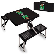 Marshall Thundering Herd Logo Portable Picnic Table - Black