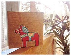 Dala Horse Original Painting on Reclaimed Maine Barn Wood