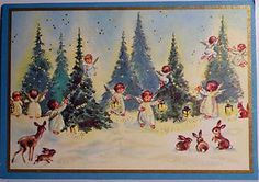 50s Brownie Angels in the Glittered Woods-Vintage Christmas Card #163