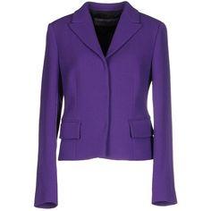 Emanuel Ungaro Blazer ($990) ❤ liked on Polyvore featuring outerwear, jackets, blazers, purple, emanuel ungaro, emanuel ungaro jacket, lapel jacket, single breasted jacket and multi pocket jacket