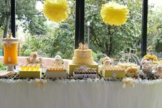 lamb christening dessert table