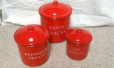 Christmas canisters red holiday canisters Holiday by NiftyGroovy