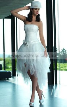 Zipper Asymmetrical A-line Natural Strapless Wedding Dresses ifdf1001