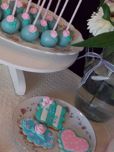 Shabby chic birthday party cakes and cake pops! See more party planning ideas at CatchMyParty.com!