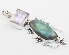 LABRADORITE PINK TOPAZ FASHION JEWELRY  .925 SILVER PLATED PENDANT  S5588