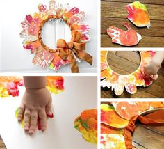 10 Thanksgiving Crafts& Activities for Kids – Leaf Hand-print Wreath by Melissa Klinker of Mama Miss