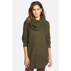 Junior Dreamers by Debut Cowl Neck Sweater ($44) found on Polyvore featuring tops, sweaters, olive, brown cowl neck sweater, over sized sweaters, olive sweater, cowl neck tops and army green sweater