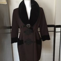 """Bogy of Italy coat Bogy's black and brown exquisite jacket with velvet collar and cuff.  It is from Italy, and is size 44.  I did have it professionally altered so it is between a 4 and 6.  I'm giving the brooch away with this purchase. 30"""" long Bogy's Jackets & Coats Blazers"""