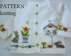 Pattern baby cardigan with от AnaSwet на Etsy Knitting For Kids, Baby Knitting Patterns, Baby Patterns, Hand Knitting, Knitted Baby Cardigan, Baby Pullover, Summer Cardigan, White Cardigan, Pattern Baby