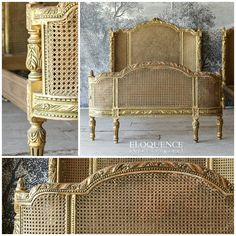 Eloquence One of a Kind Vintage French Gilt Cane Louis XVI Style Twin Bed Pair