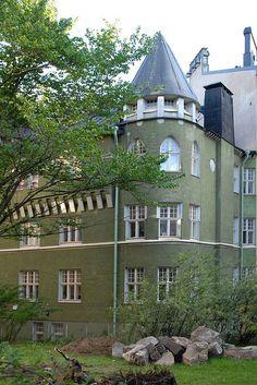 """""""Kolmio"""" Kauppiaankatu 4, kortteli Pyökki, Katajanokka, Helsinki. Arkkitehdit K.S. Kallio, Emil Werner von Essen 1904"""