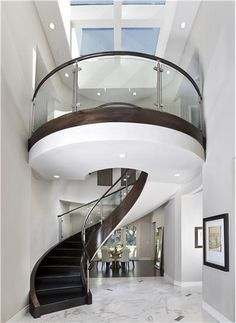 Professionals in staircase design, construction and stairs installation. In addition EeStairs offers design services on stairs and balustrades. Escalier Design, Modern Stairs, Modern Basement, Stair Steps, Interior Stairs, Interior Balcony, Staircase Design, Curved Staircase, Spiral Staircases