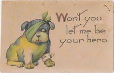 1912 Postcard  - Get Well Soon w/ bandaged Dog (Bulldog) - Cute Antique Vintage. Pinned by Judi Crowe.