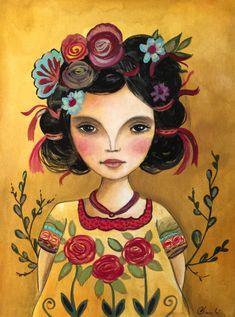 Muñeca Latina frida inspirado arte imprimir                                                                                                                                                                                 Más