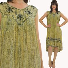 Hippie Dress Boho Dress Embroidered Dress Sun by SHABBYBABEVINTAGE, $48.00