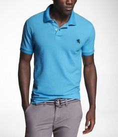 FITTED SMALL LION PIQUE POLO at Express