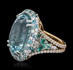 18KT Two-Tone Gold GIA Certified 39.59ctw Paraiba - by Seized Assets Auctioneers