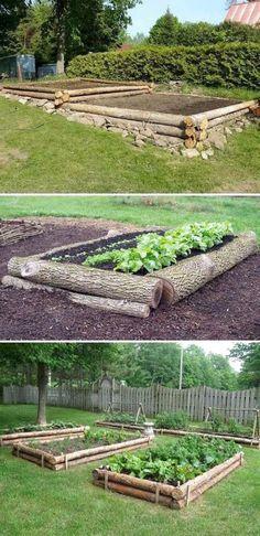 Garden Types Raised Garden Beds from Logs. Garden Types Raised Garden Beds from Logs. Garden Types Raised Garden Beds from L Garden Types, Veg Garden, Vegetable Garden Design, Vegetables Garden, Vegetable Gardening, Organic Gardening, Garden Planters, Container Gardening, Gardening Tips