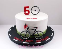 Cyclist birthday cake by Kelly Cope Bicycle Birthday Parties, Bicycle Party, Bicycle Cake, Bike Cakes, 50th Birthday Cakes For Men, 50th Cake, Cake Birthday, Cake Icing, Fondant Cakes