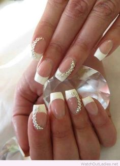Simple bridal nail art inspirationon white