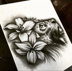 Lion and lily flower tattoo design