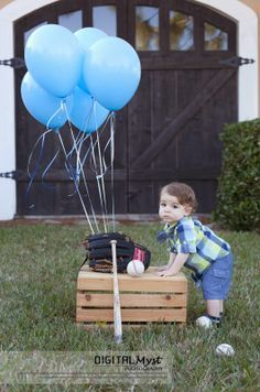 1st birthday baseball photo shoot - Google Search