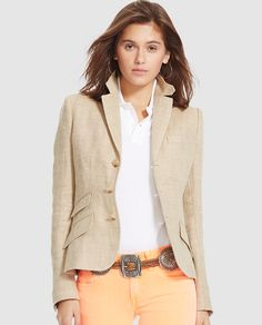 Chaqueta de espiga de mujer Polo Ralph Lauren en color beige