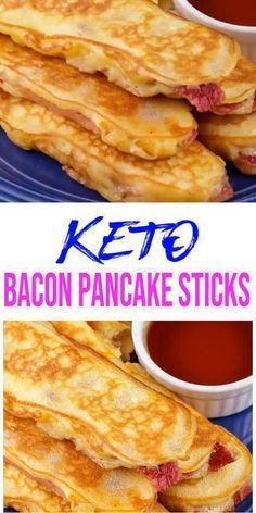 Pancakes On A Stick, Pancakes And Bacon, Low Carb Pancakes, Pancakes Easy, Bacon Pancake Dippers, Keto Pancakes Coconut Flour, Best Keto Pancakes, Almond Flour, Breakfast On The Go