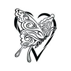 Tetování motýl v srdci