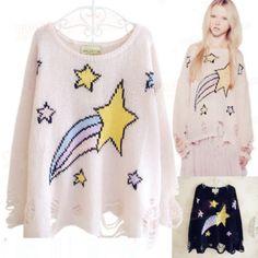 "Harajuku fashion stars rainbow printing knit sweater - Use the code ""batty"" at Cute Harajuku and Women Fashion for 10% off your order!"