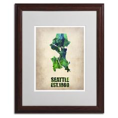 Seattle Watercolor Map by Naxart Matted Framed Painting Print