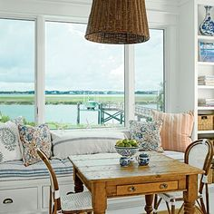 ThanksA welcoming breakfast nook with a built-in bench and cabinets. awesome pin
